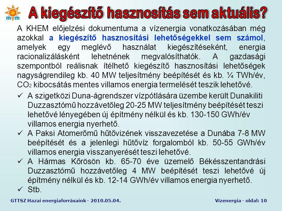 GTTSZ Hazai energiaforrásaink - 2010.05.04.Vízenergia - oldal: 10 A KHEM előjelzési dokumentuma a vízenergia vonatkozásában még azokkal a kiegészítő h