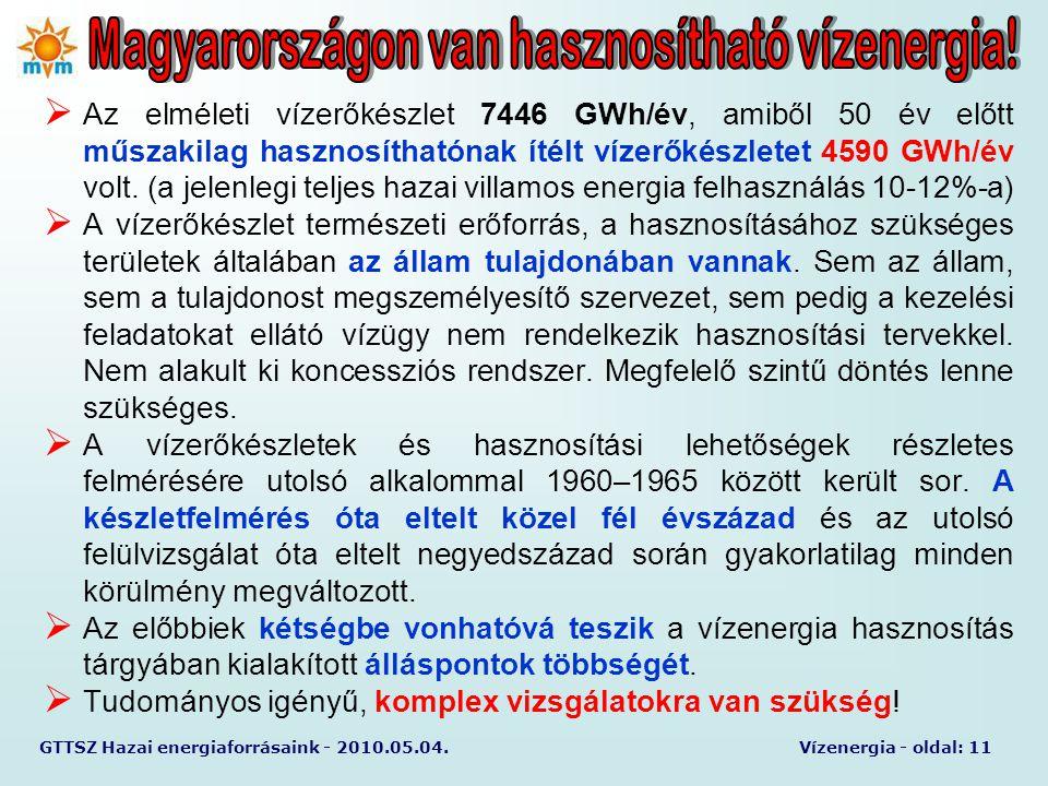 GTTSZ Hazai energiaforrásaink - 2010.05.04.Vízenergia - oldal: 11  Az elméleti vízerőkészlet 7446 GWh/év, amiből 50 év előtt műszakilag hasznosítható