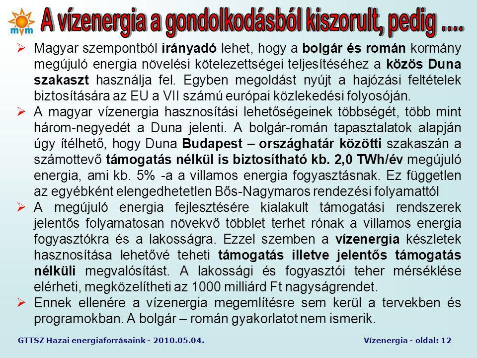 GTTSZ Hazai energiaforrásaink - 2010.05.04.Vízenergia - oldal: 12  Magyar szempontból irányadó lehet, hogy a bolgár és román kormány megújuló energia