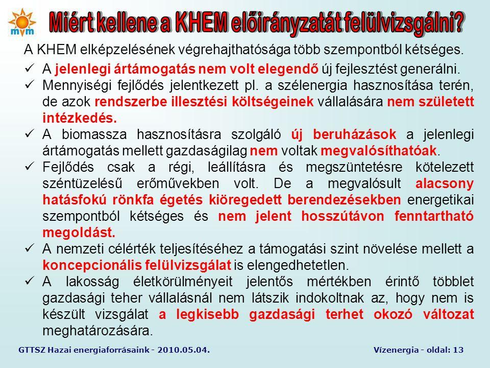 GTTSZ Hazai energiaforrásaink - 2010.05.04.Vízenergia - oldal: 13 A KHEM elképzelésének végrehajthatósága több szempontból kétséges.  A jelenlegi árt