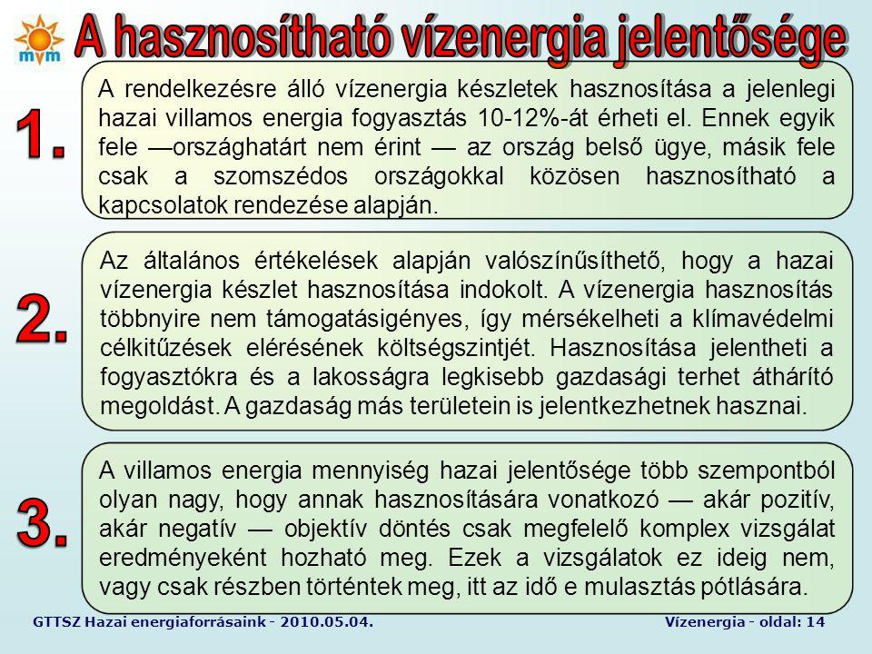 GTTSZ Hazai energiaforrásaink - 2010.05.04.Vízenergia - oldal: 14 A rendelkezésre álló vízenergia készletek hasznosítása a jelenlegi hazai villamos en