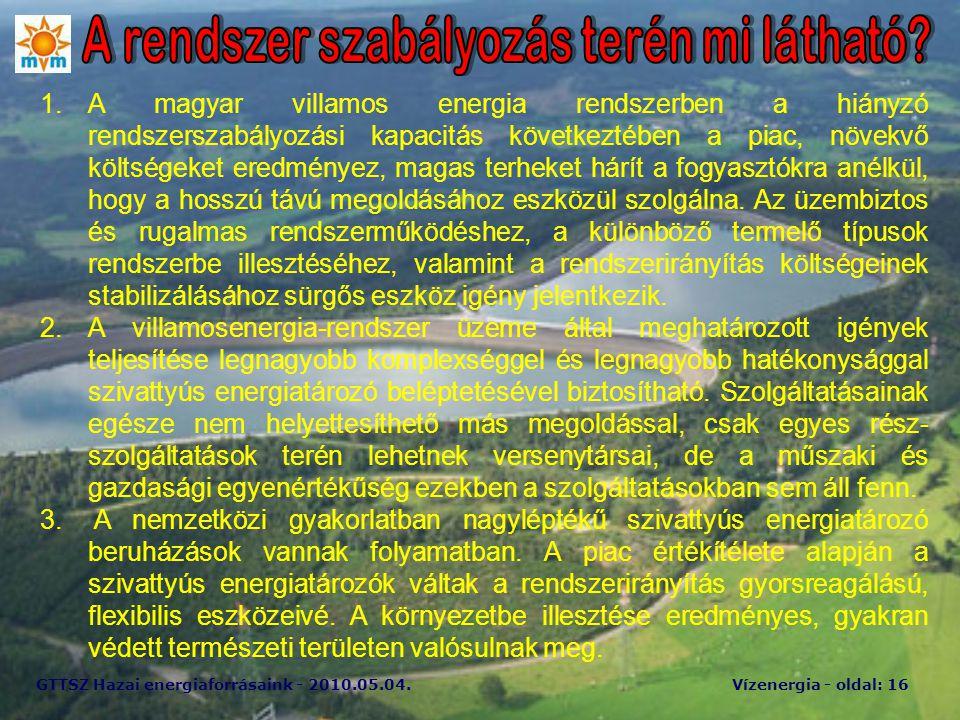 GTTSZ Hazai energiaforrásaink - 2010.05.04.Vízenergia - oldal: 16 1.A magyar villamos energia rendszerben a hiányzó rendszerszabályozási kapacitás köv