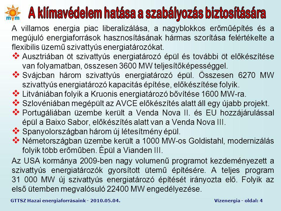 GTTSZ Hazai energiaforrásaink - 2010.05.04.Vízenergia - oldal: 5 A rendszer szabályozásban és a klímavédelemben pozíciójának erősödése várható.