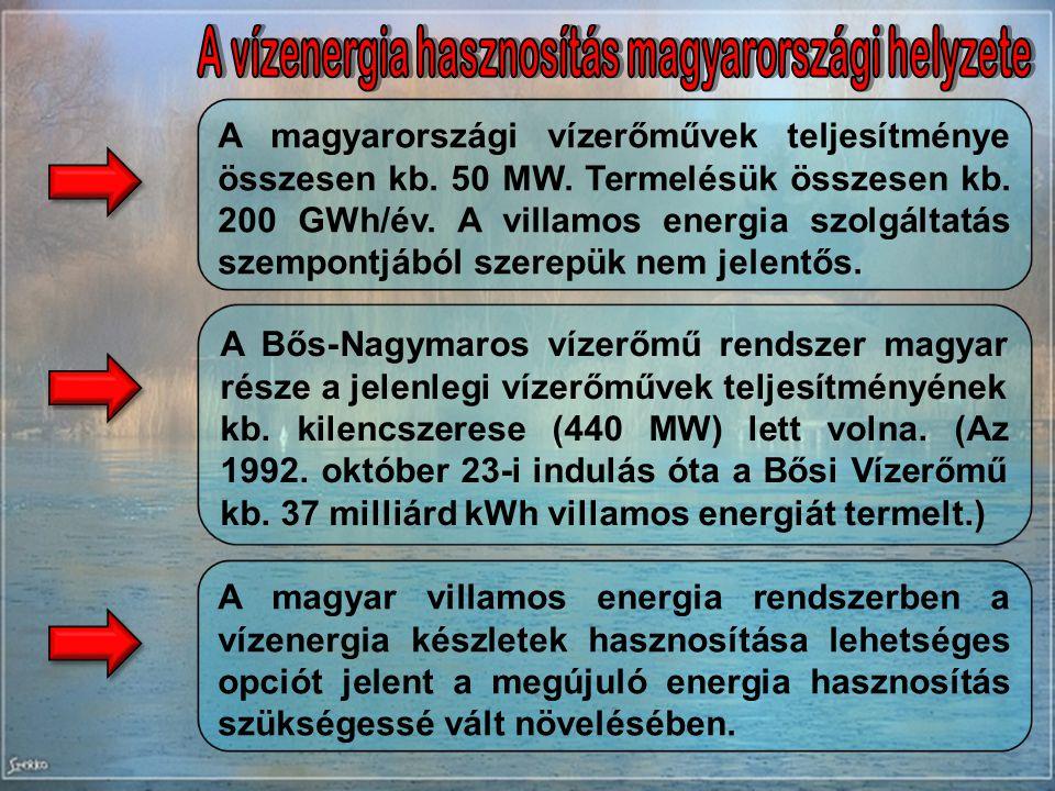 GTTSZ Hazai energiaforrásaink - 2010.05.04.Vízenergia - oldal: 6 A magyarországi vízerőművek teljesítménye összesen kb. 50 MW. Termelésük összesen kb.