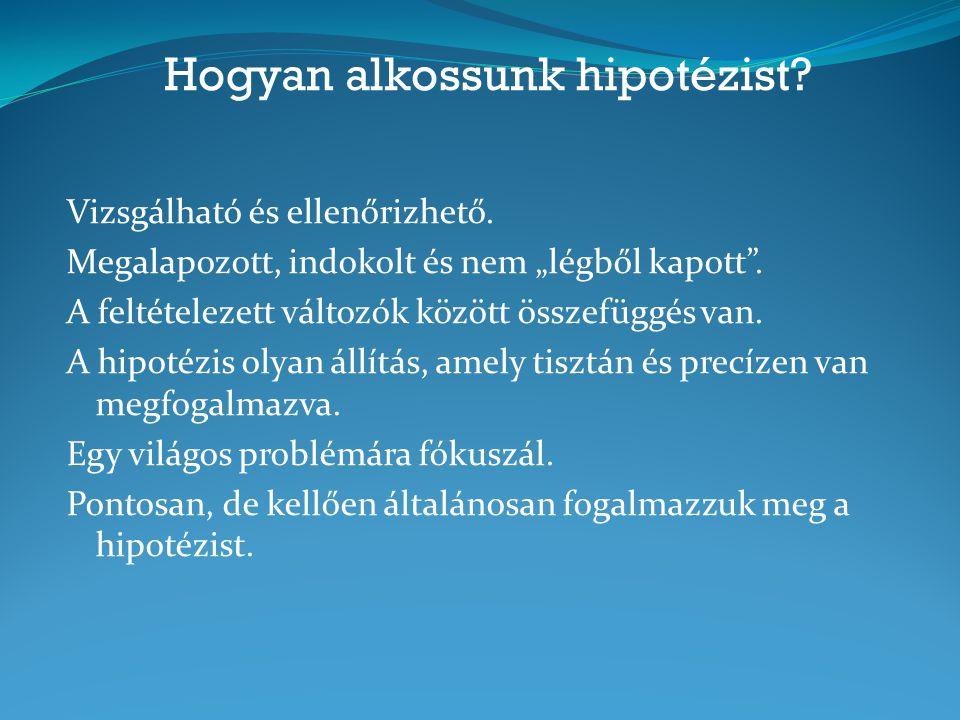 Hogyan alkossunk hipotézist.Vizsgálható és ellenőrizhető.