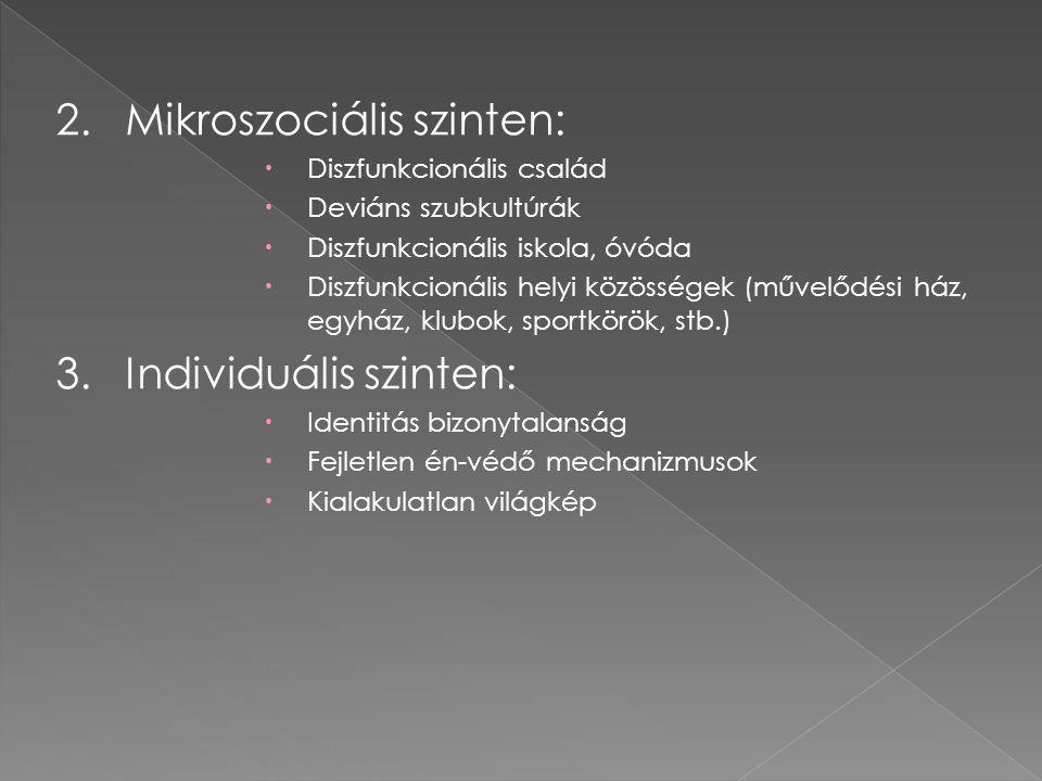 2.Mikroszociális szinten:  Diszfunkcionális család  Deviáns szubkultúrák  Diszfunkcionális iskola, óvóda  Diszfunkcionális helyi közösségek (művelődési ház, egyház, klubok, sportkörök, stb.) 3.Individuális szinten:  Identitás bizonytalanság  Fejletlen én-védő mechanizmusok  Kialakulatlan világkép