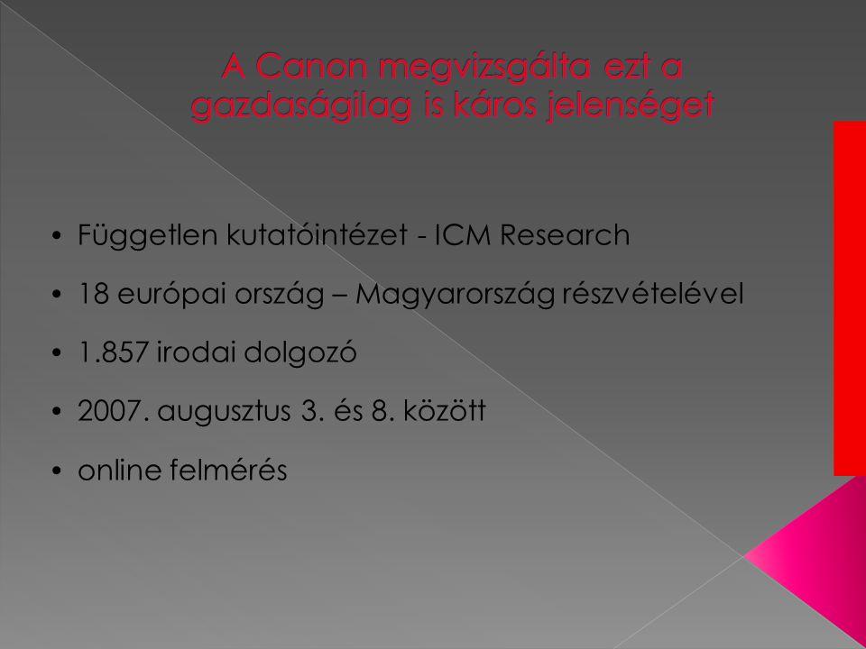 • Független kutatóintézet - ICM Research • 18 európai ország – Magyarország részvételével • 1.857 irodai dolgozó • 2007.