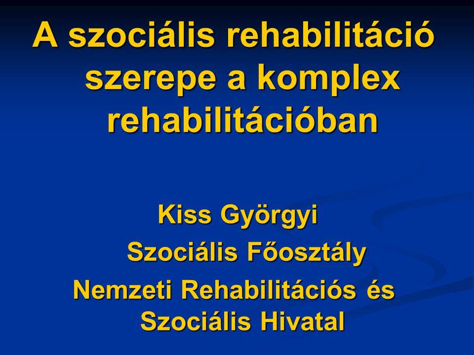 A szociális rehabilitáció szerepe a komplex rehabilitációban Kiss Györgyi Kiss Györgyi Szociális Főosztály Szociális Főosztály Nemzeti Rehabilitációs
