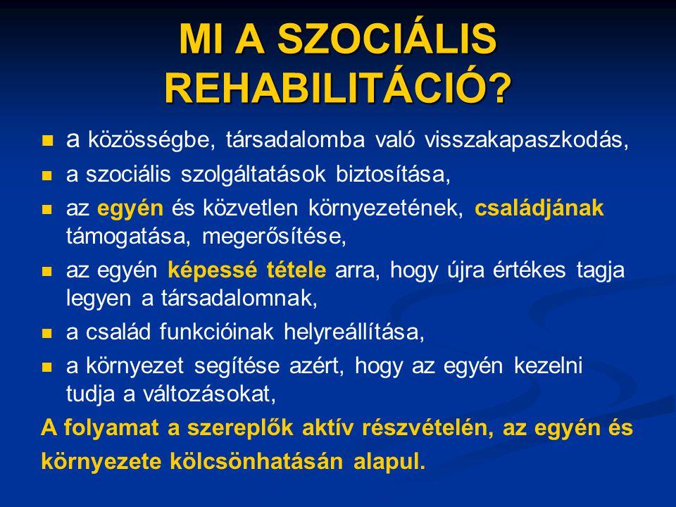 MI A SZOCIÁLIS REHABILITÁCIÓ?   a közösségbe, társadalomba való visszakapaszkodás,   a szociális szolgáltatások biztosítása,   az egyén és közve