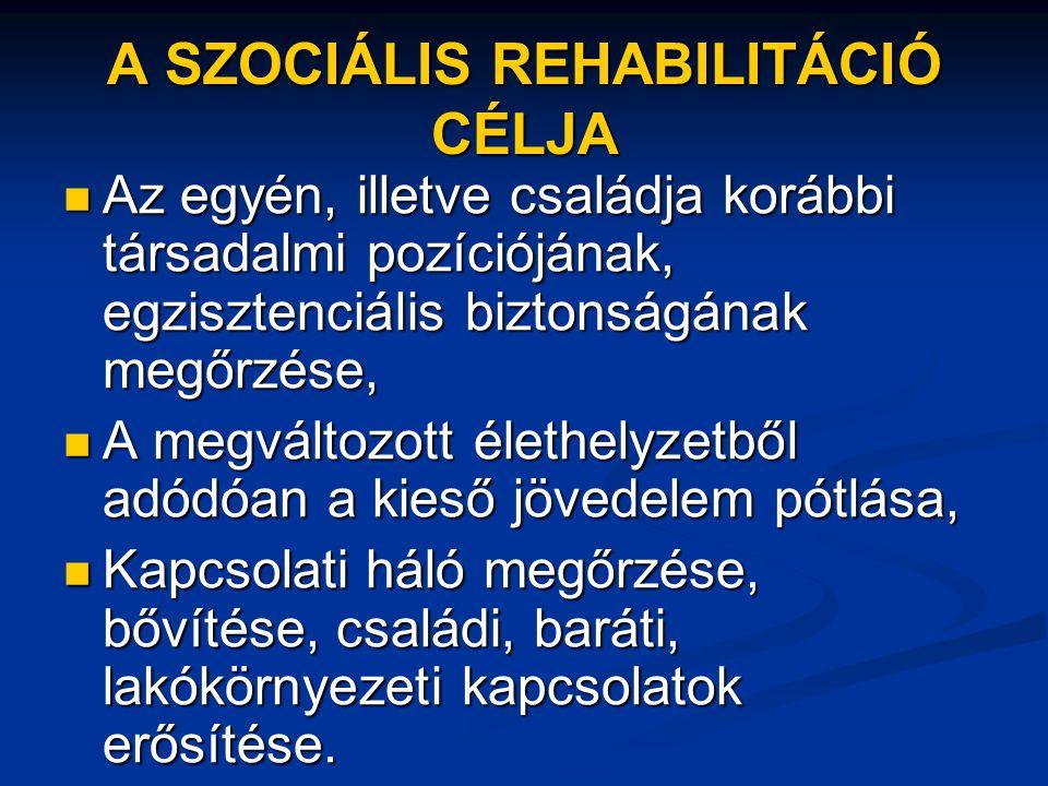 A SZOCIÁLIS REHABILITÁCIÓ CÉLJA  Az egyén, illetve családja korábbi társadalmi pozíciójának, egzisztenciális biztonságának megőrzése,  A megváltozot
