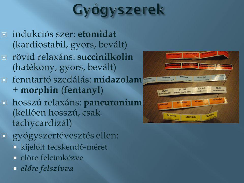 intubációs eszközök RESCUE: maszk, LMA sebészi légút kettős kapnometria oxigén (2) szívó (2)