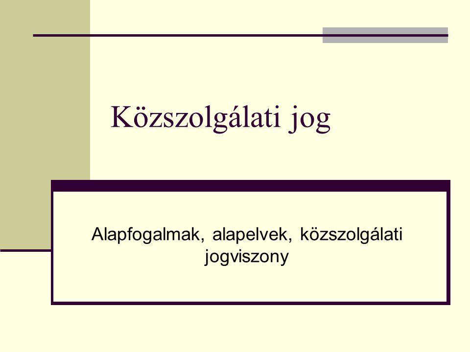 Közszolgálati jog Alapfogalmak, alapelvek, közszolgálati jogviszony