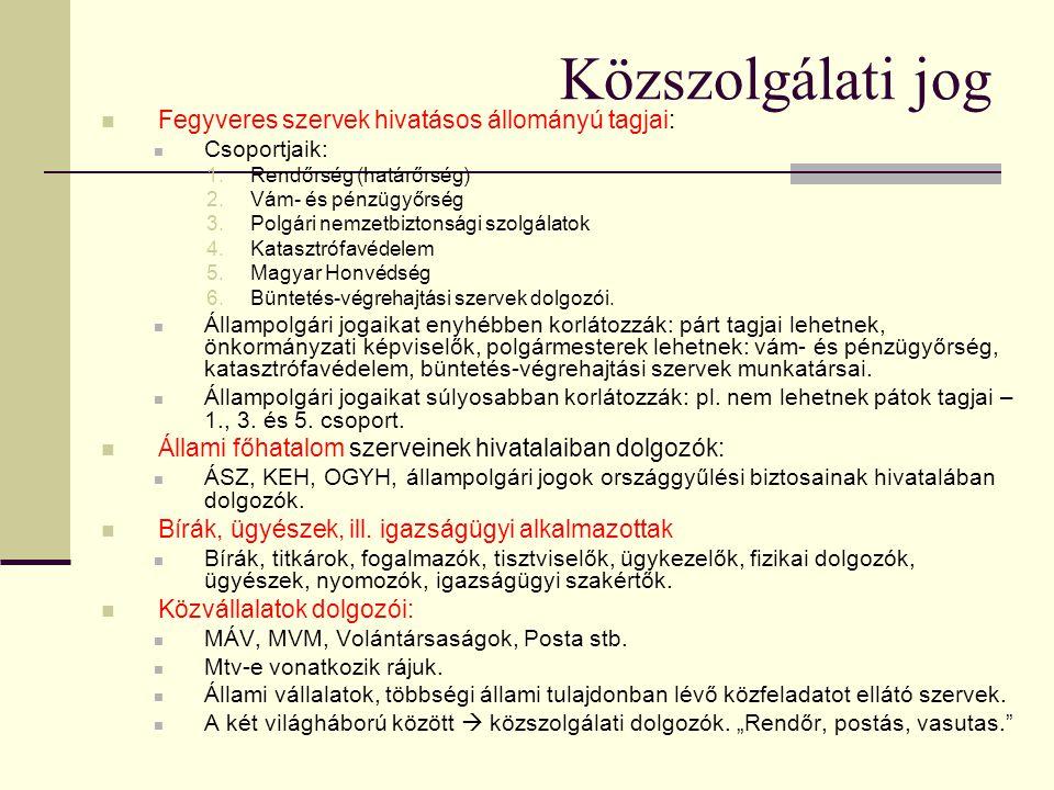 Közszolgálati jog  Fegyveres szervek hivatásos állományú tagjai:  Csoportjaik: 1.Rendőrség (határőrség) 2.Vám- és pénzügyőrség 3.Polgári nemzetbizto