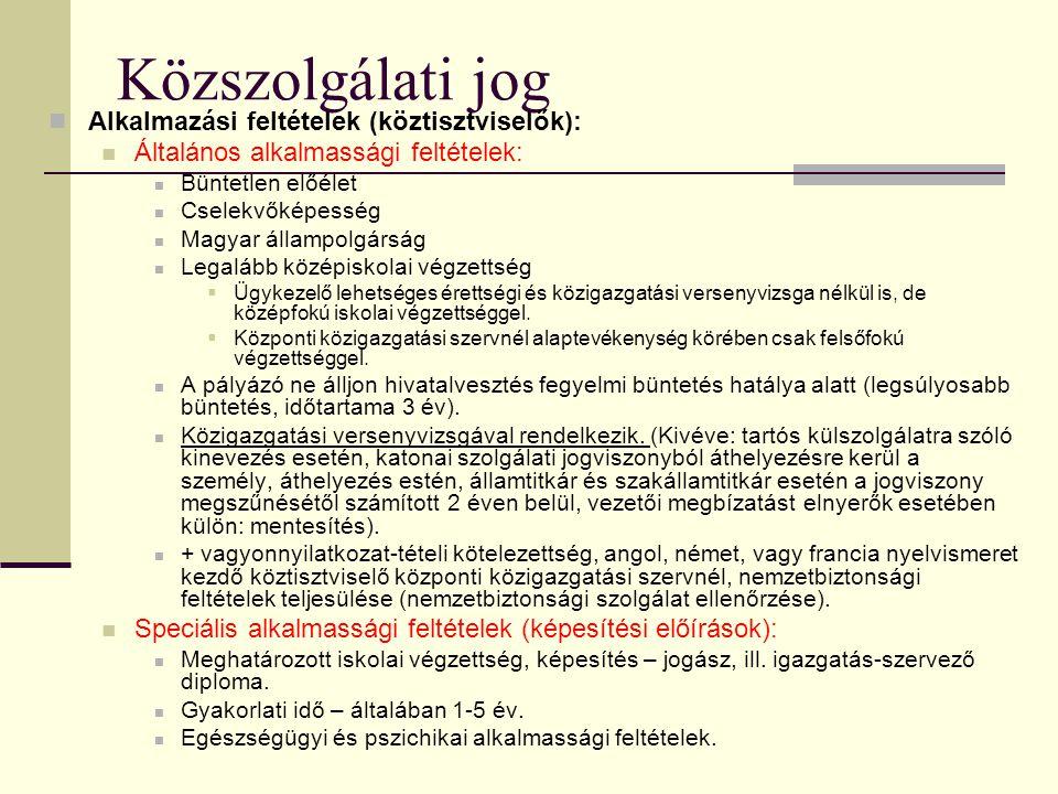 Közszolgálati jog  Alkalmazási feltételek (köztisztviselők):  Általános alkalmassági feltételek:  Büntetlen előélet  Cselekvőképesség  Magyar áll