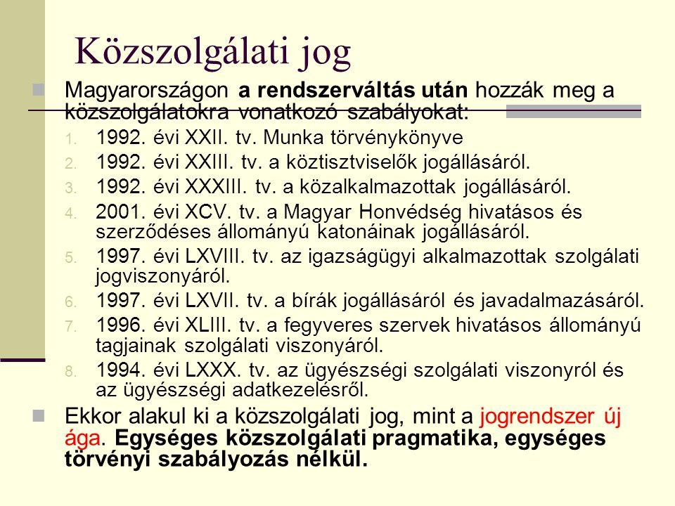 Közszolgálati jog  Magyarországon a rendszerváltás után hozzák meg a közszolgálatokra vonatkozó szabályokat: 1. 1992. évi XXII. tv. Munka törvényköny