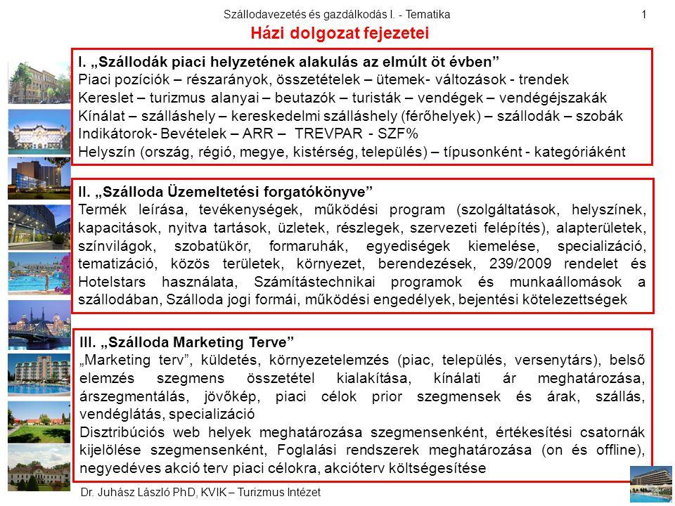 Szállodavezetés és gazdálkodás I.- Tematika Dr. Juhász László PhD, KVIK – Turizmus Intézet 1 II.
