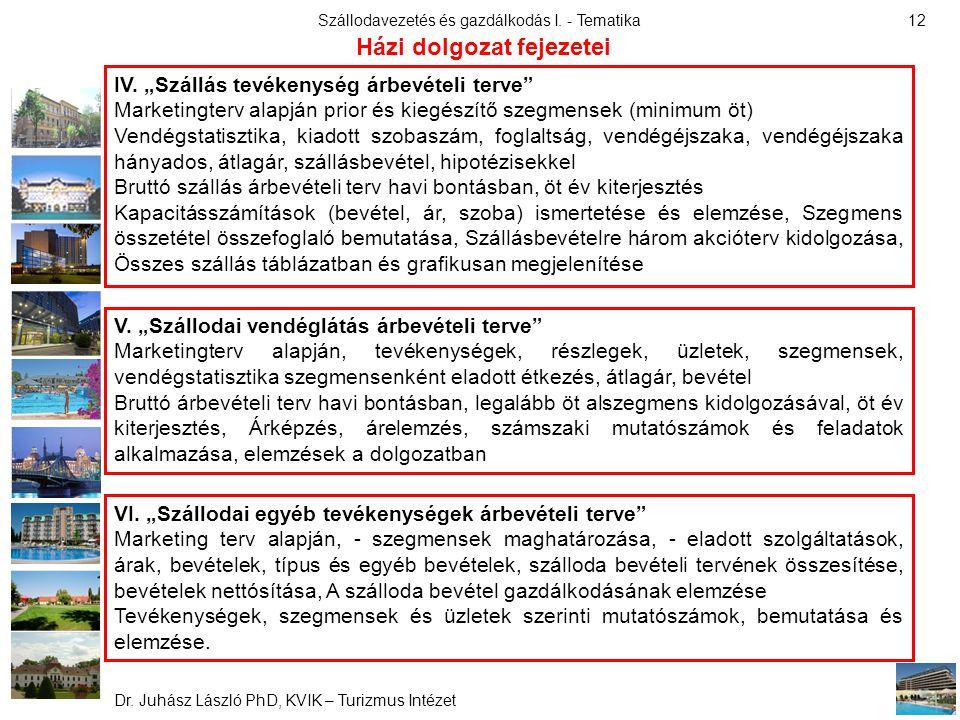 """Szállodavezetés és gazdálkodás I. - Tematika Dr. Juhász László PhD, KVIK – Turizmus Intézet 12 IV. """"Szállás tevékenység árbevételi terve"""" Marketingter"""
