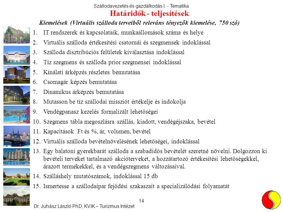 Szállodavezetés és gazdálkodás I. - Tematika Dr. Juhász László PhD, KVIK – Turizmus Intézet 14 Kiemelések (Virtuális szálloda terveiből releváns ténye