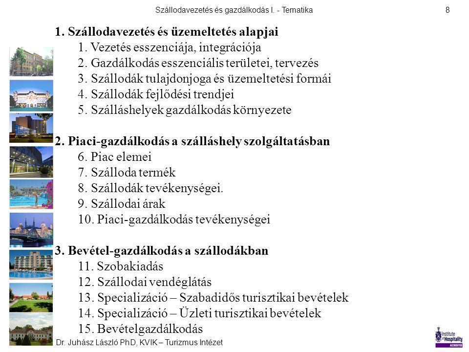 Szállodavezetés és gazdálkodás I.- Tematika Dr. Juhász László PhD, KVIK – Turizmus Intézet 8 1.