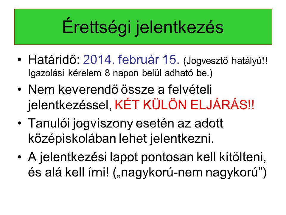 Érettségi jelentkezés •Határidő: 2014.február 15.