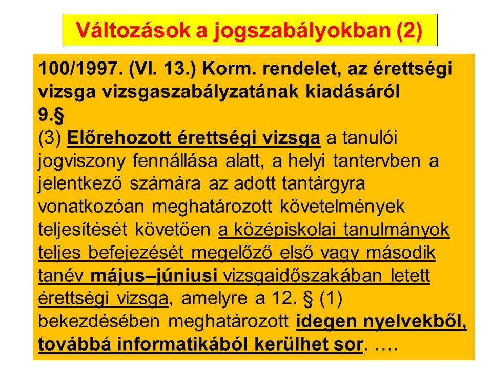 Változások a jogszabályokban (3) 100/1997.(VI. 13.) Korm.