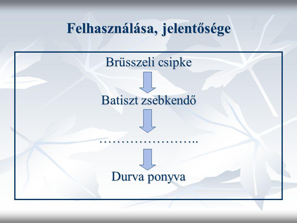 Felhasználása, jelentősége Brüsszeli csipke Batiszt zsebkendő ………………….. Durva ponyva