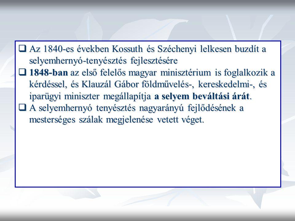  Az 1840-es években Kossuth és Széchenyi lelkesen buzdít a selyemhernyó-tenyésztés fejlesztésére  1848-ban az első felelős magyar minisztérium is foglalkozik a kérdéssel, és Klauzál Gábor földművelés-, kereskedelmi-, és iparügyi miniszter megállapítja a selyem beváltási árát.