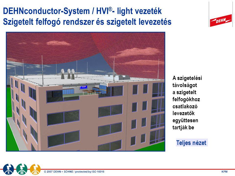 © 2007 DEHN + SÖHNE / protected by ISO 16016 KPM DEHNconductor-System / HVI ® - light vezeték Szigetelt felfogó rendszer és szigetelt levezetés Teljes