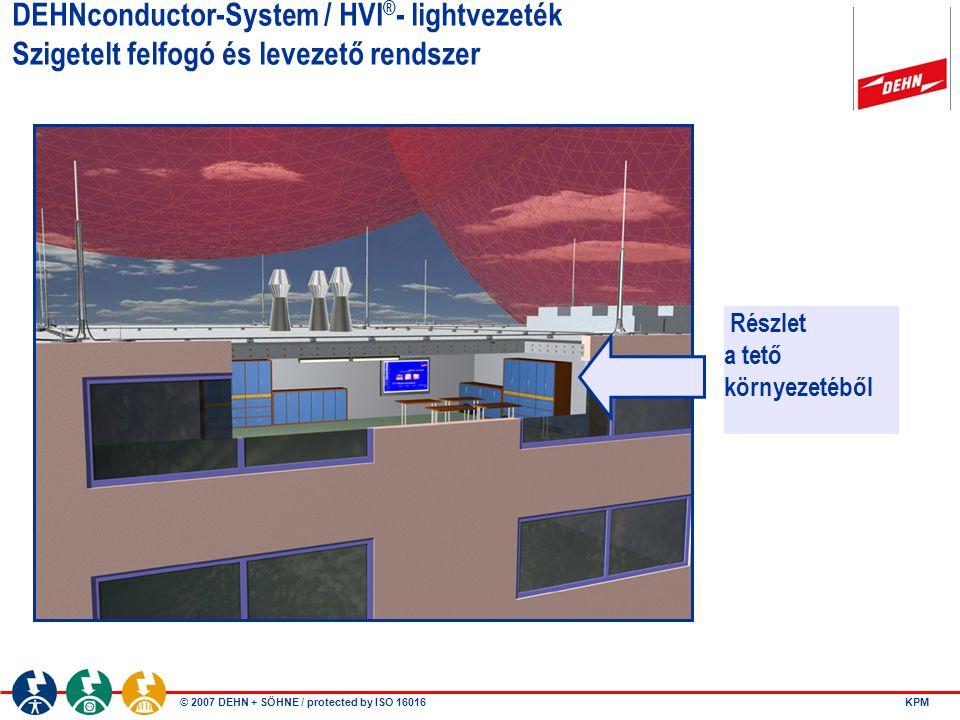 © 2007 DEHN + SÖHNE / protected by ISO 16016 DEHNconductor-System / HVI ® - lightvezeték Szigetelt felfogó és levezető rendszer Részlet a tető környez