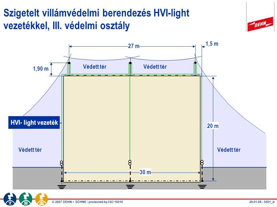 © 2007 DEHN + SÖHNE / protected by ISO 16016 1,90 m 27 m Védett tér 20 m Szigetelt villámvédelmi berendezés HVI-light vezetékkel, III. védelmi osztály