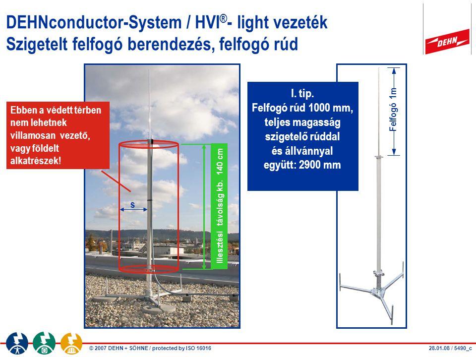 © 2007 DEHN + SÖHNE / protected by ISO 16016 DEHNconductor-System / HVI ® - light vezeték Szigetelt felfogó berendezés, felfogó rúd I. tip. Felfogó rú