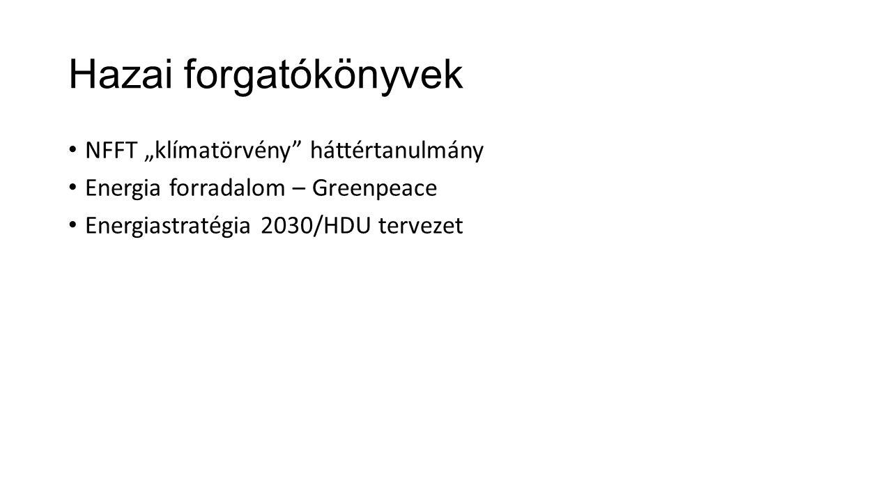 """Hazai forgatókönyvek • NFFT """"klímatörvény"""" háttértanulmány • Energia forradalom – Greenpeace • Energiastratégia 2030/HDU tervezet"""