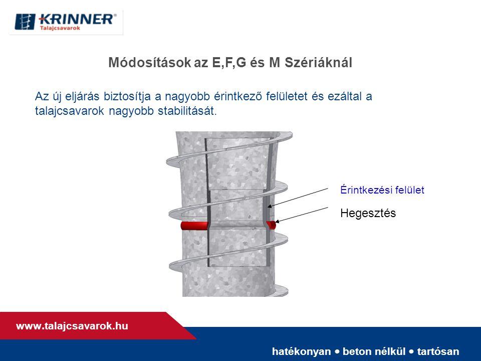 hatékonyan • beton nélkül • tartósan www. talajcsavarok.hu Módosítások az E,F,G és M Szériáknál Érintkezési felület Hegesztés Az új eljárás biztosítja