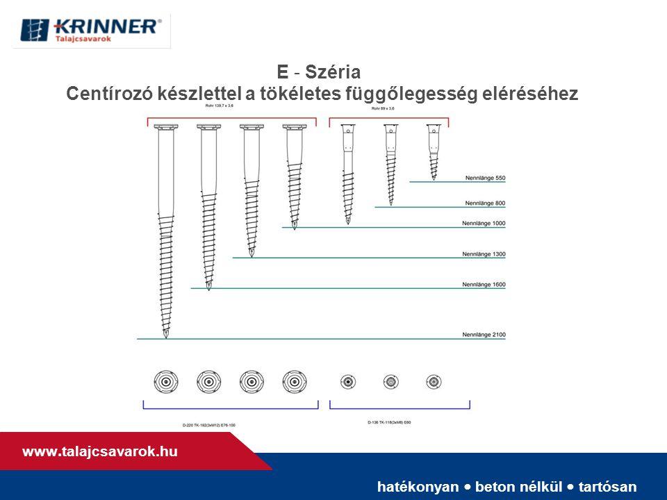 hatékonyan • beton nélkül • tartósan www. talajcsavarok.hu E - Széria Centírozó készlettel a tökéletes függőlegesség eléréséhez