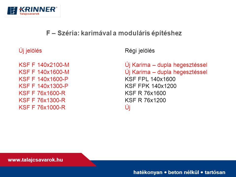 hatékonyan • beton nélkül • tartósan www. talajcsavarok.hu F – Széria: karimával a moduláris építéshez Új jelölésRégi jelölés KSF F 140x2100-M Új Kari