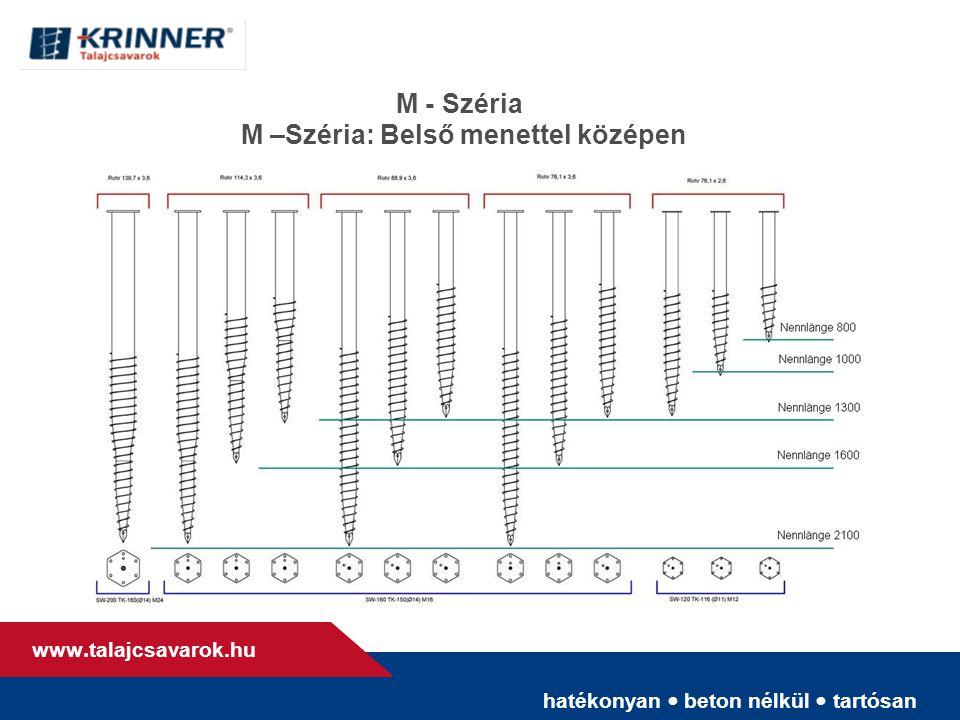 hatékonyan • beton nélkül • tartósan www. talajcsavarok.hu M - Széria M –Széria: Belső menettel középen