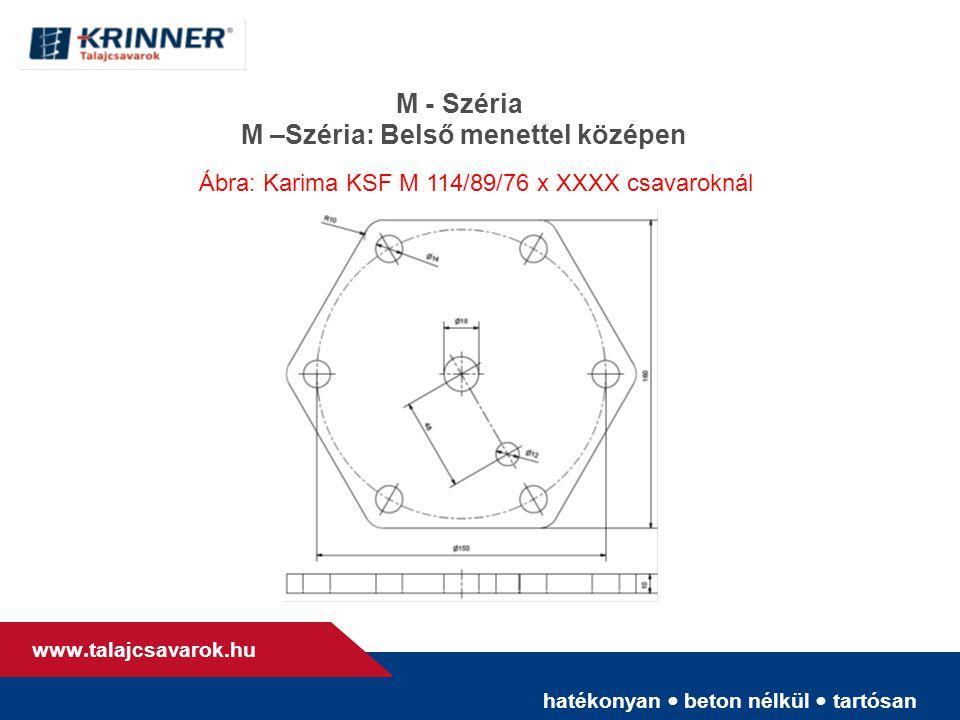 hatékonyan • beton nélkül • tartósan www. talajcsavarok.hu M - Széria M –Széria: Belső menettel középen Ábra: Karima KSF M 114/89/76 x XXXX csavarokná