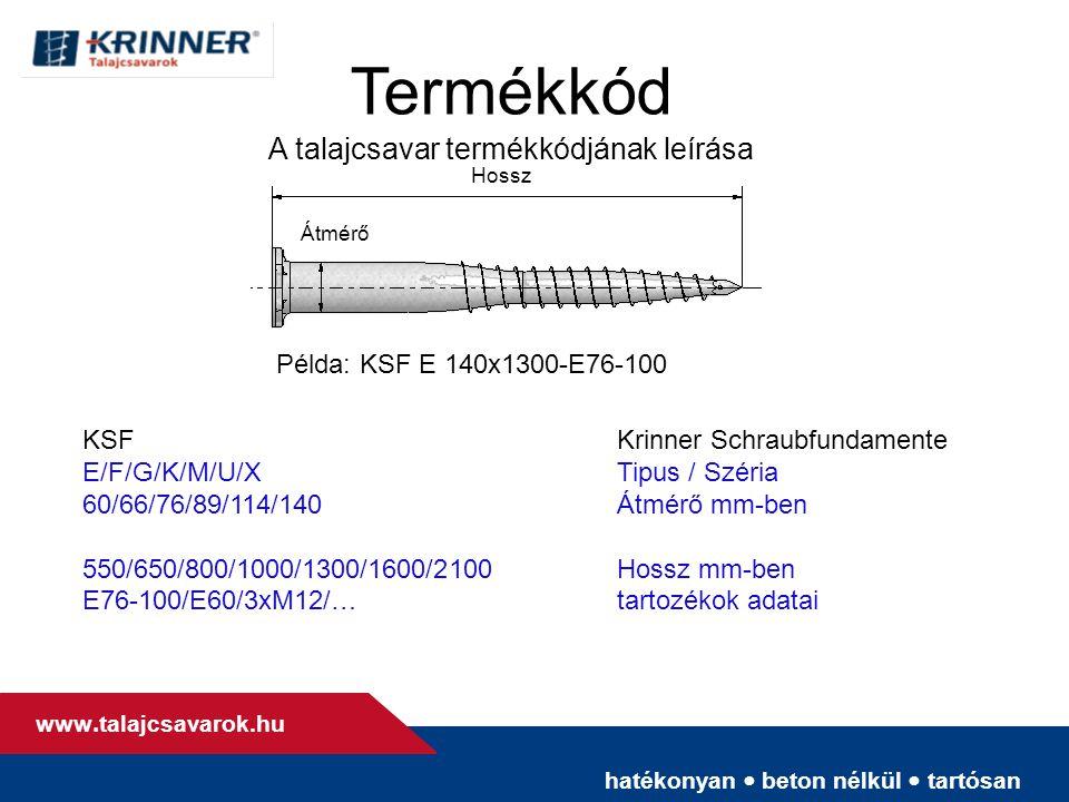 hatékonyan • beton nélkül • tartósan www. talajcsavarok.hu Termékkód A talajcsavar termékkódjának leírása Átmérő Példa: KSF E 140x1300-E76-100 KSFKrin