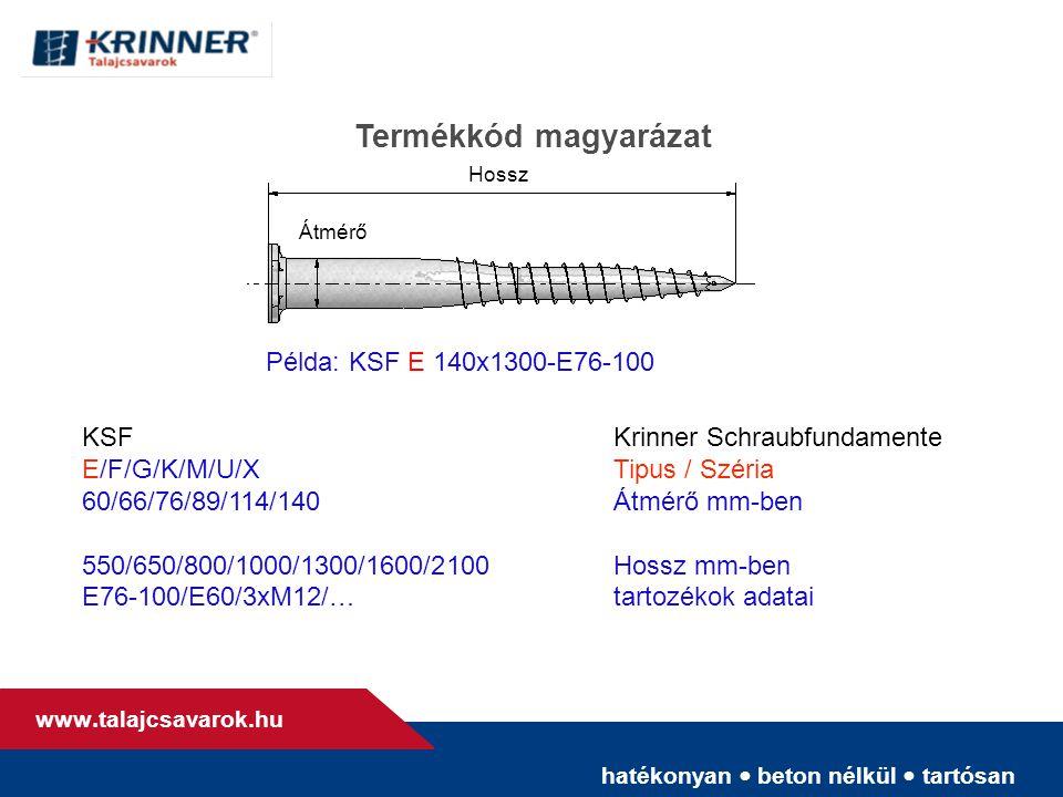 hatékonyan • beton nélkül • tartósan www. talajcsavarok.hu Termékkód magyarázat Átmérő Példa: KSF E 140x1300-E76-100 KSFKrinner Schraubfundamente E/F/
