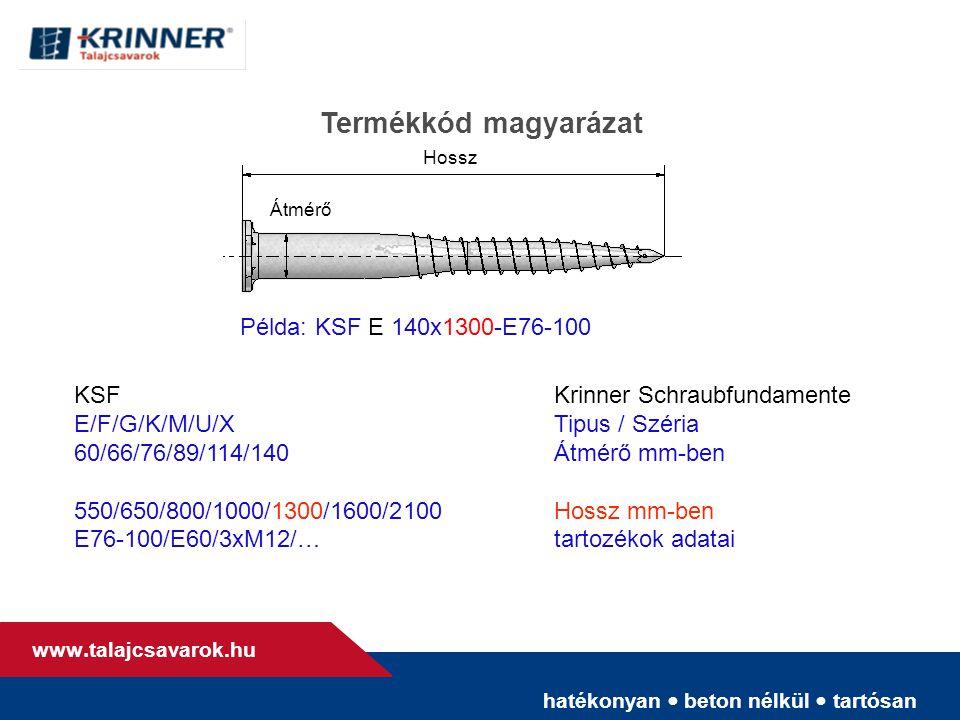 hatékonyan • beton nélkül • tartósan www. talajcsavarok.hu Termékkód magyarázat Hossz Átmérő KSFKrinner Schraubfundamente E/F/G/K/M/U/XTipus / Széria