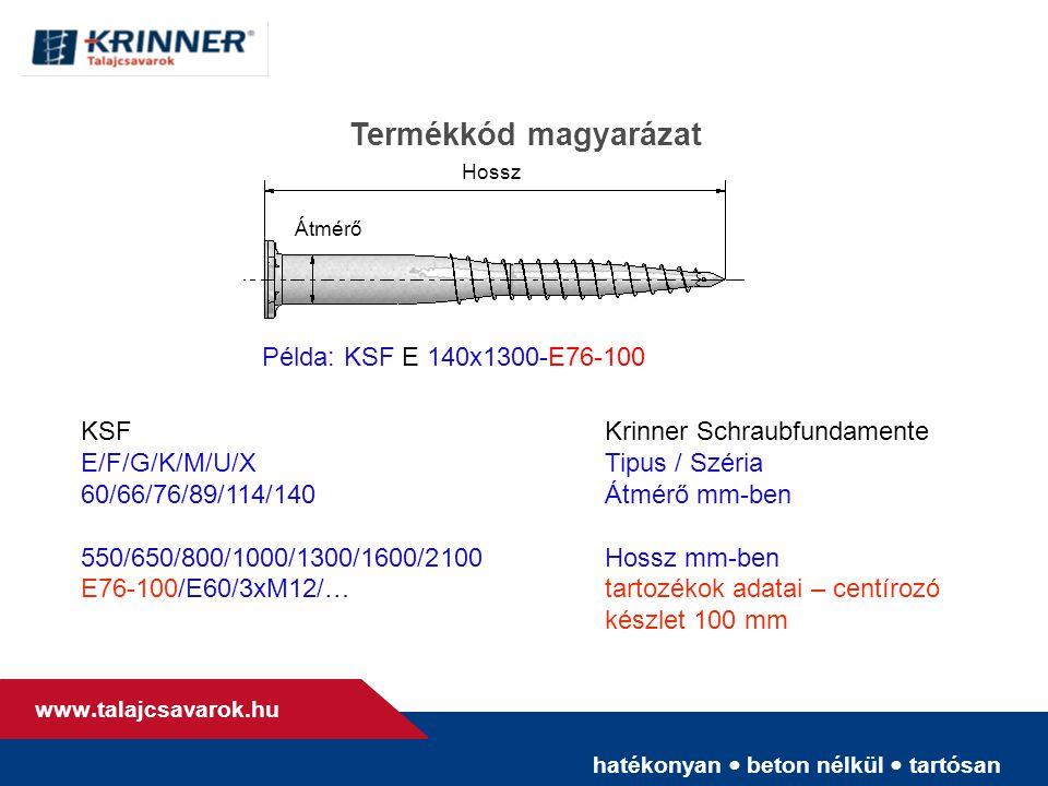 hatékonyan • beton nélkül • tartósan www. talajcsavarok.hu Átmérő Hossz Termékkód magyarázat KSFKrinner Schraubfundamente E/F/G/K/M/U/XTipus / Széria