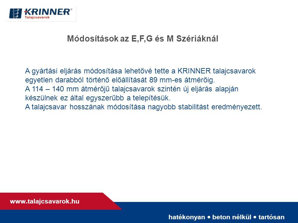 hatékonyan • beton nélkül • tartósan www. talajcsavarok.hu Módosítások az E,F,G és M Szériáknál A gyártási eljárás módosítása lehetővé tette a KRINNER