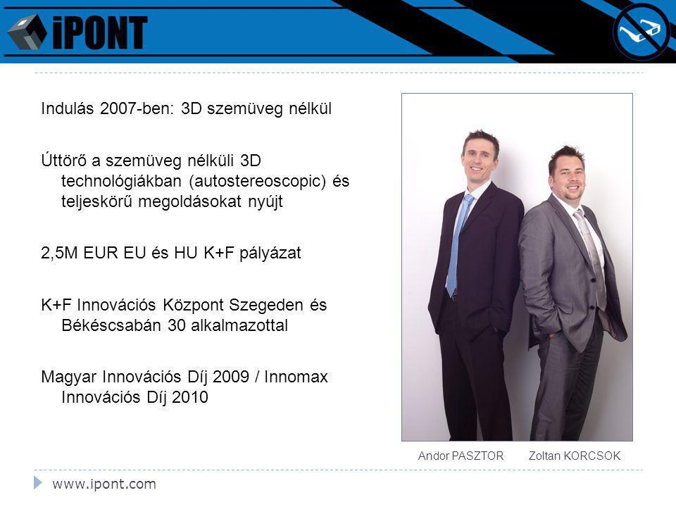 www.ipont.com Indulás 2007-ben: 3D szemüveg nélkül Úttörő a szemüveg nélküli 3D technológiákban (autostereoscopic) és teljeskörű megoldásokat nyújt 2,5M EUR EU és HU K+F pályázat K+F Innovációs Központ Szegeden és Békéscsabán 30 alkalmazottal Magyar Innovációs Díj 2009 / Innomax Innovációs Díj 2010 Andor PASZTOR Zoltan KORCSOK