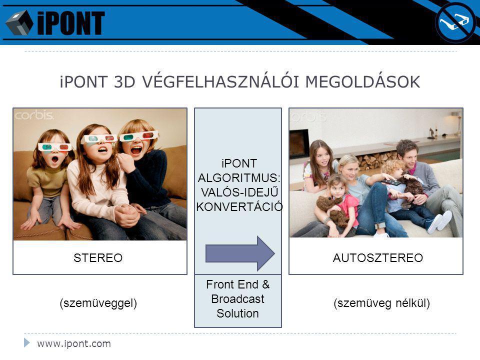 iPONT 3D VÉGFELHASZNÁLÓI MEGOLDÁSOK STEREO iPONT ALGORITMUS: VALÓS-IDEJŰ KONVERTÁCIÓ AUTOSZTEREO Front End & Broadcast Solution (szemüveggel)(szemüveg