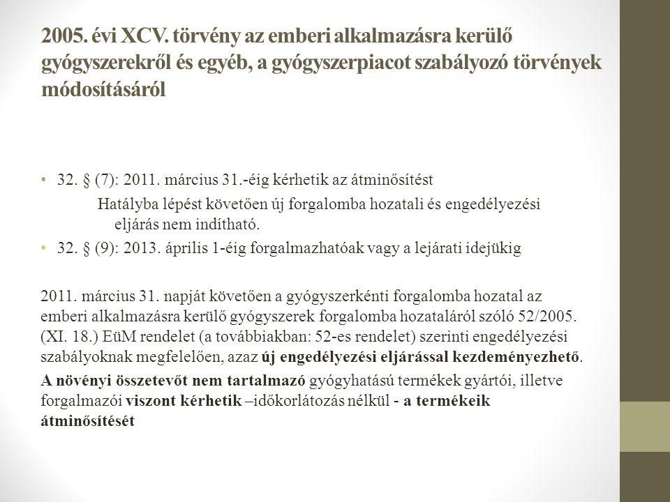 2005. évi XCV. törvény az emberi alkalmazásra kerülő gyógyszerekről és egyéb, a gyógyszerpiacot szabályozó törvények módosításáról • 32. § (7): 2011.