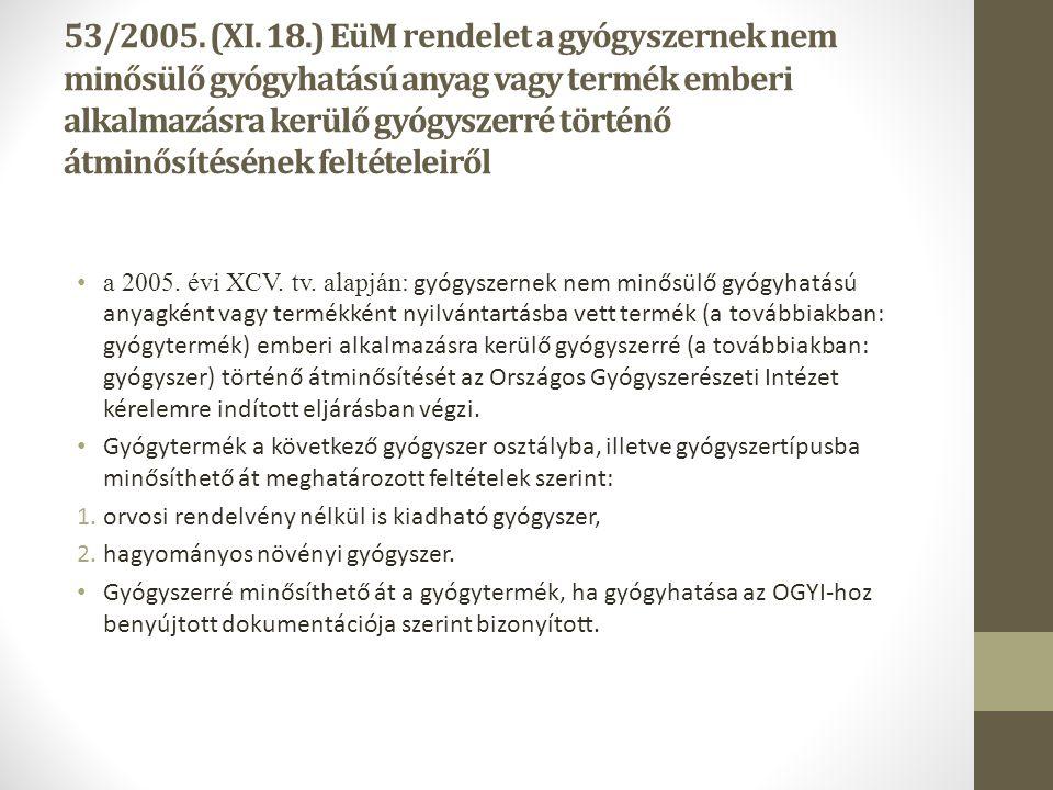 53/2005. (XI. 18.) EüM rendelet a gyógyszernek nem minősülő gyógyhatású anyag vagy termék emberi alkalmazásra kerülő gyógyszerré történő átminősítésén
