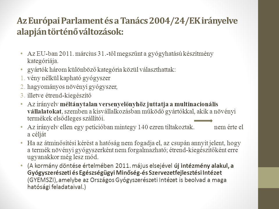 Az Európai Parlament és a Tanács 2004/24/EK irányelve alapján történő változások: • Az EU-ban 2011. március 31.-től megszűnt a gyógyhatású készítmény