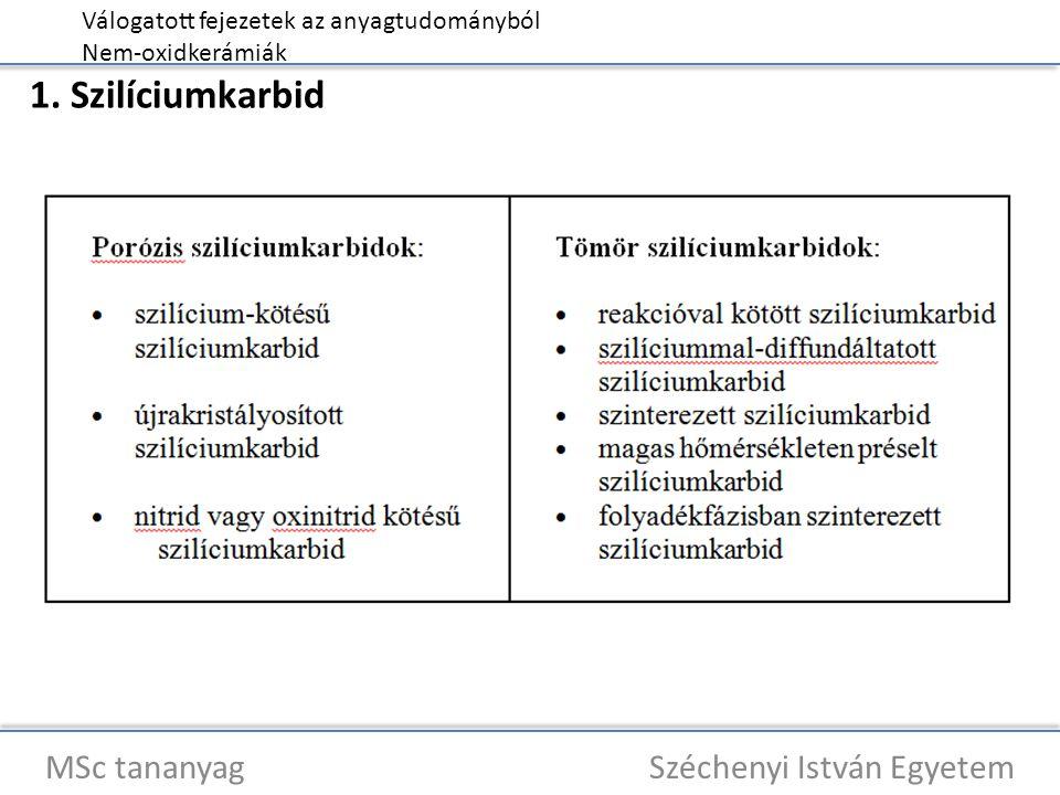 Válogatott fejezetek az anyagtudományból Nem-oxidkerámiák MSc tananyag Széchenyi István Egyetem 4.