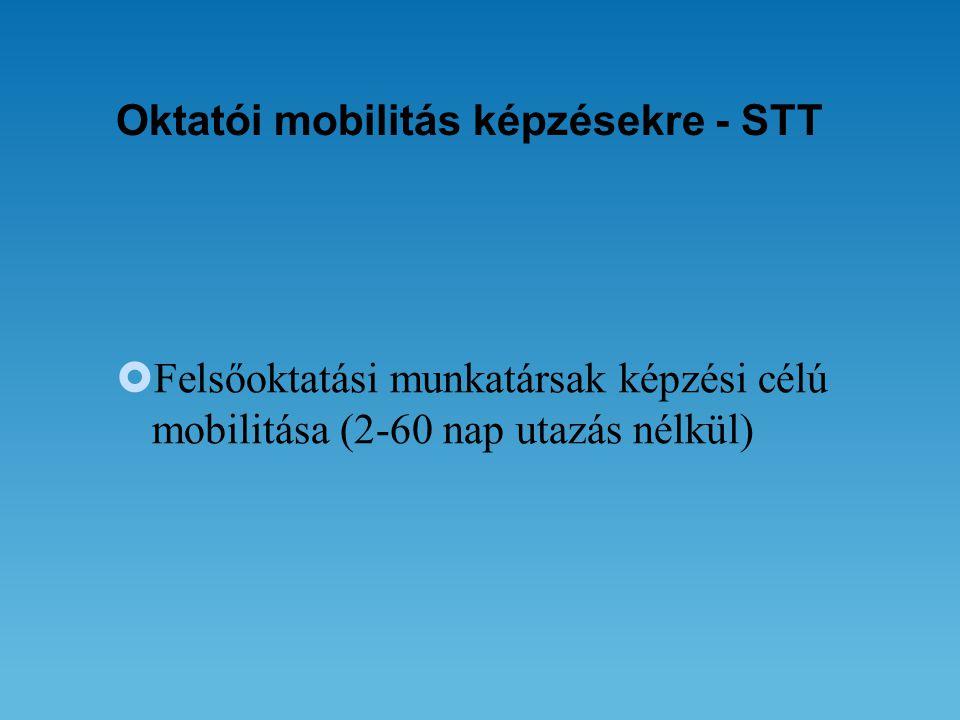 Oktatói mobilitás képzésekre - STT  Felsőoktatási munkatársak képzési célú mobilitása (2-60 nap utazás nélkül)