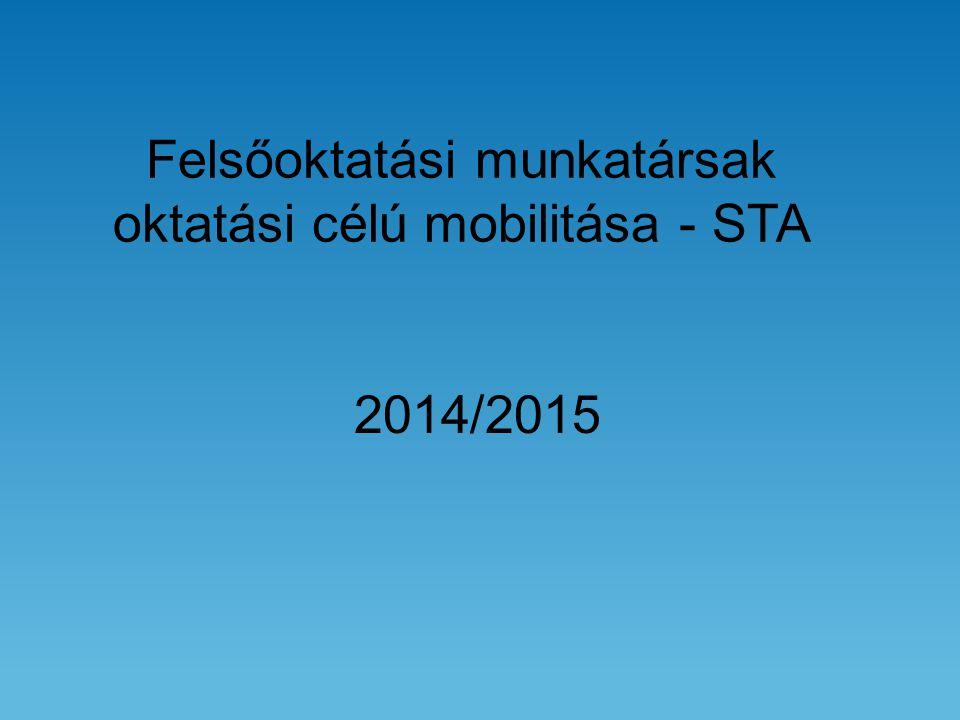 Felsőoktatási munkatársak oktatási célú mobilitása - STA 2014/2015